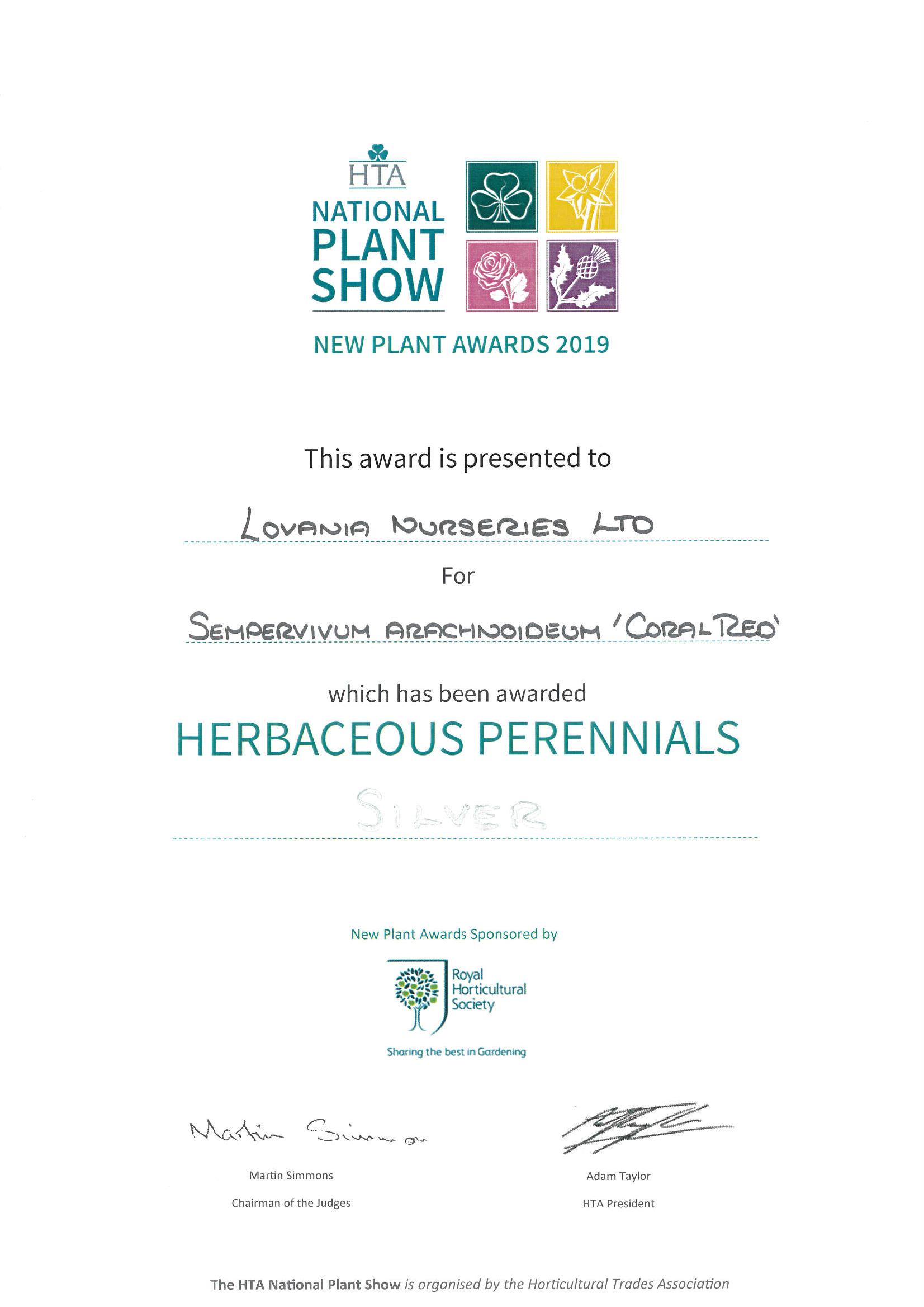 Silver Medal HTA National Plant Show