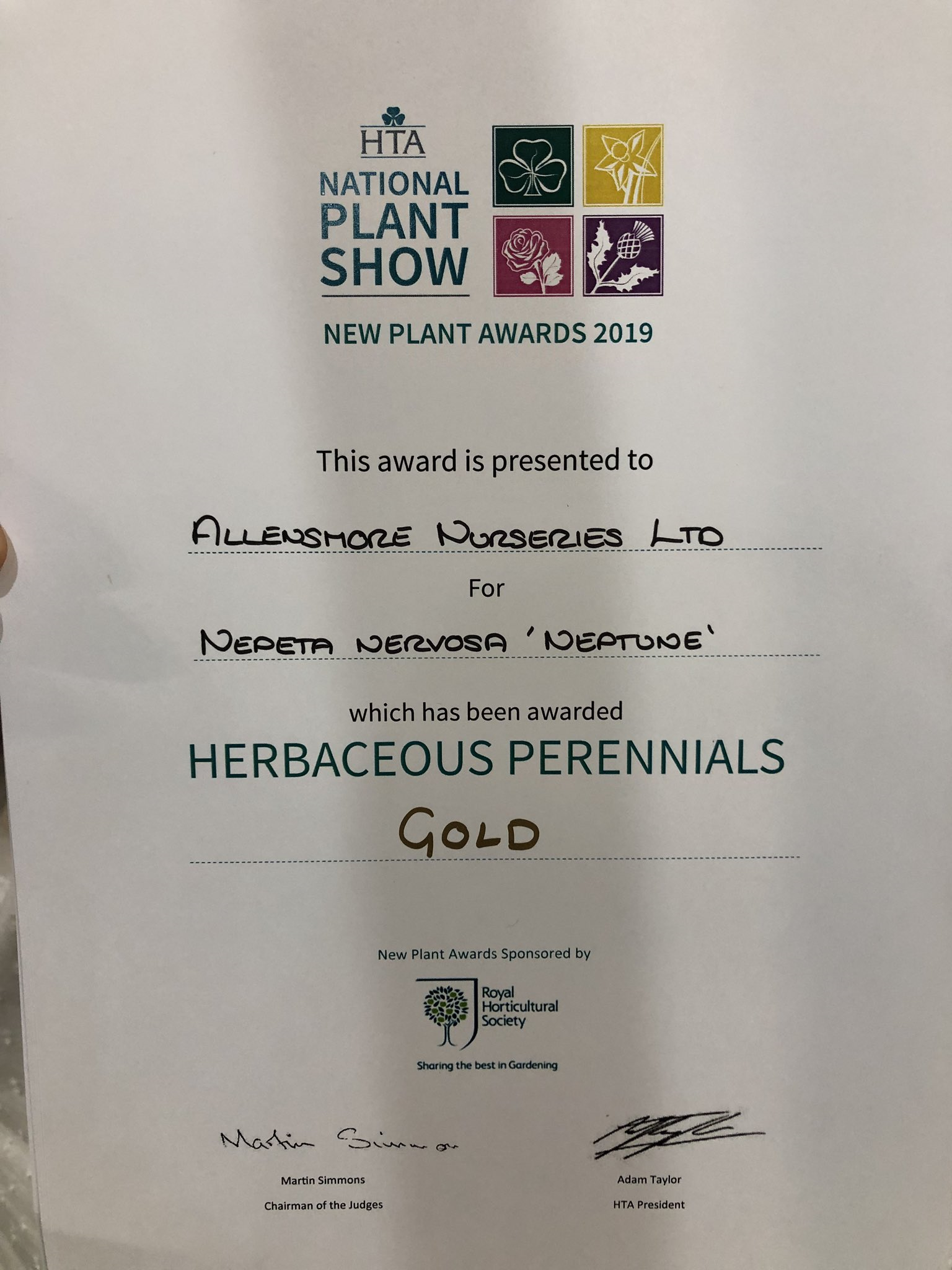 HTA New Plant Awards 2019